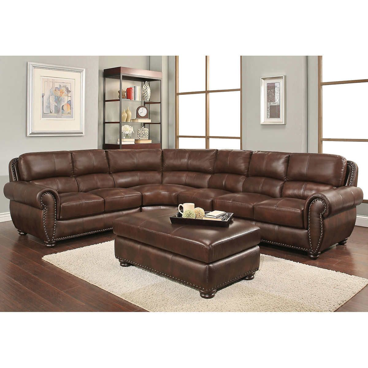 Austin Top Grain Leather Sectional With Ottoman Leather