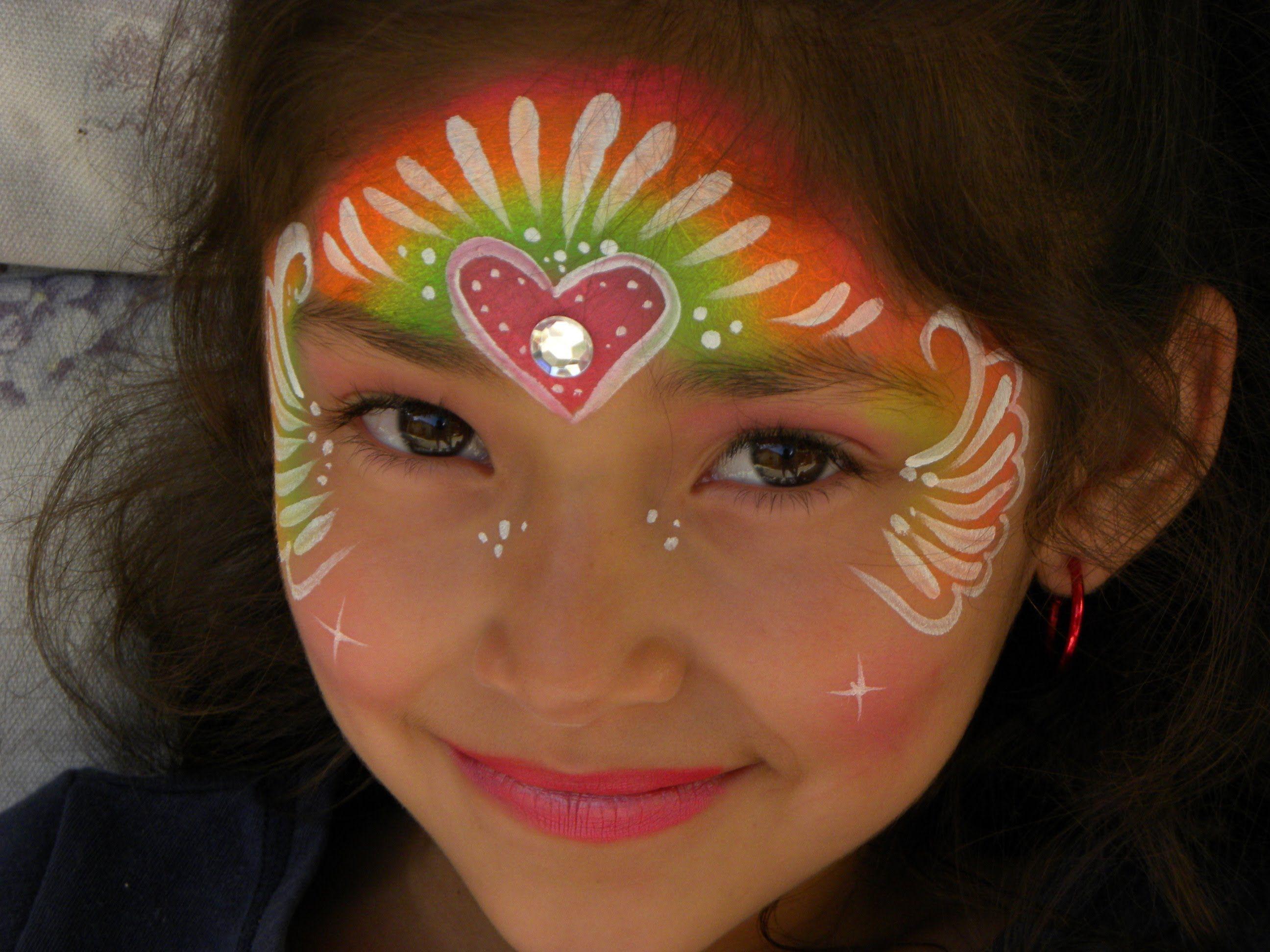 Princesa arcoiris con corazon pintacaritas para ni a - Pinturas de cara para ninos ...