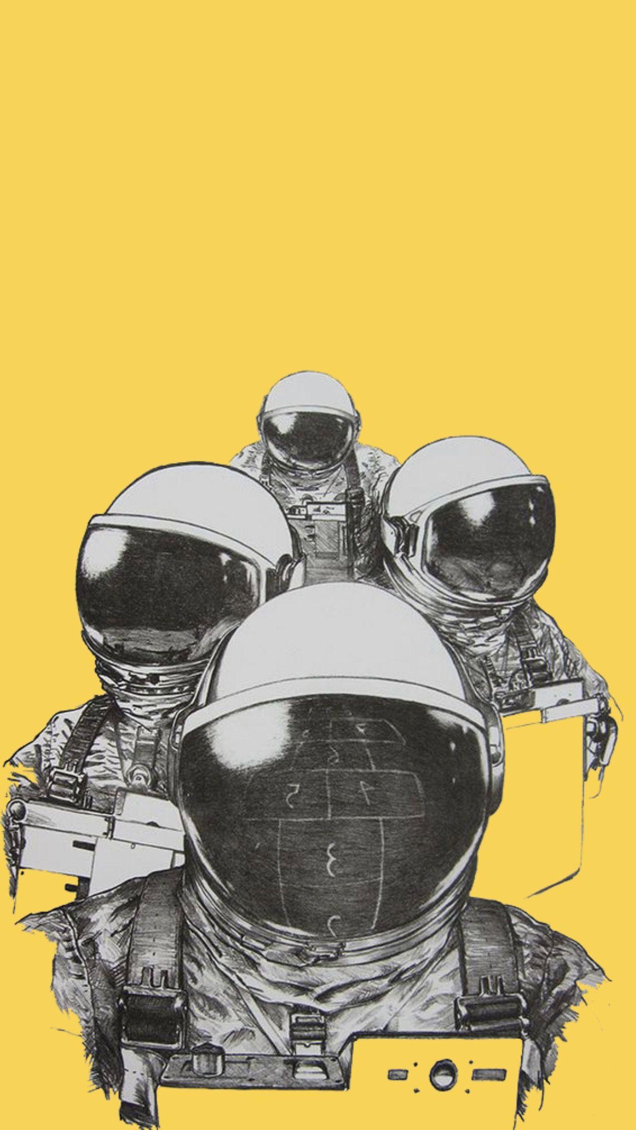 Yellow Lockscreen Wallpaper Background Aesthetic Astronaut B W