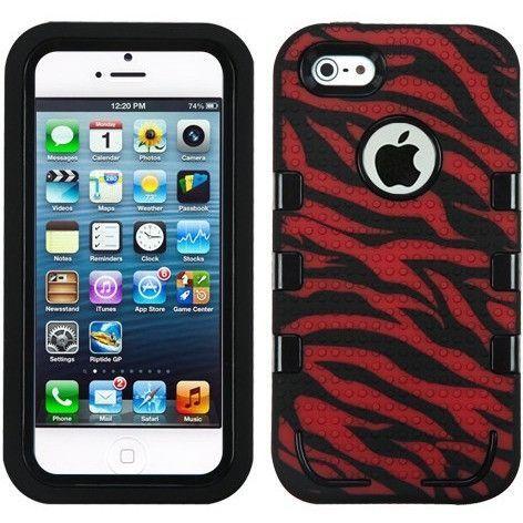 MYBAT eNUFF Hybrid iPhone 5/5S/SE Case - Zebra (Red/Black)