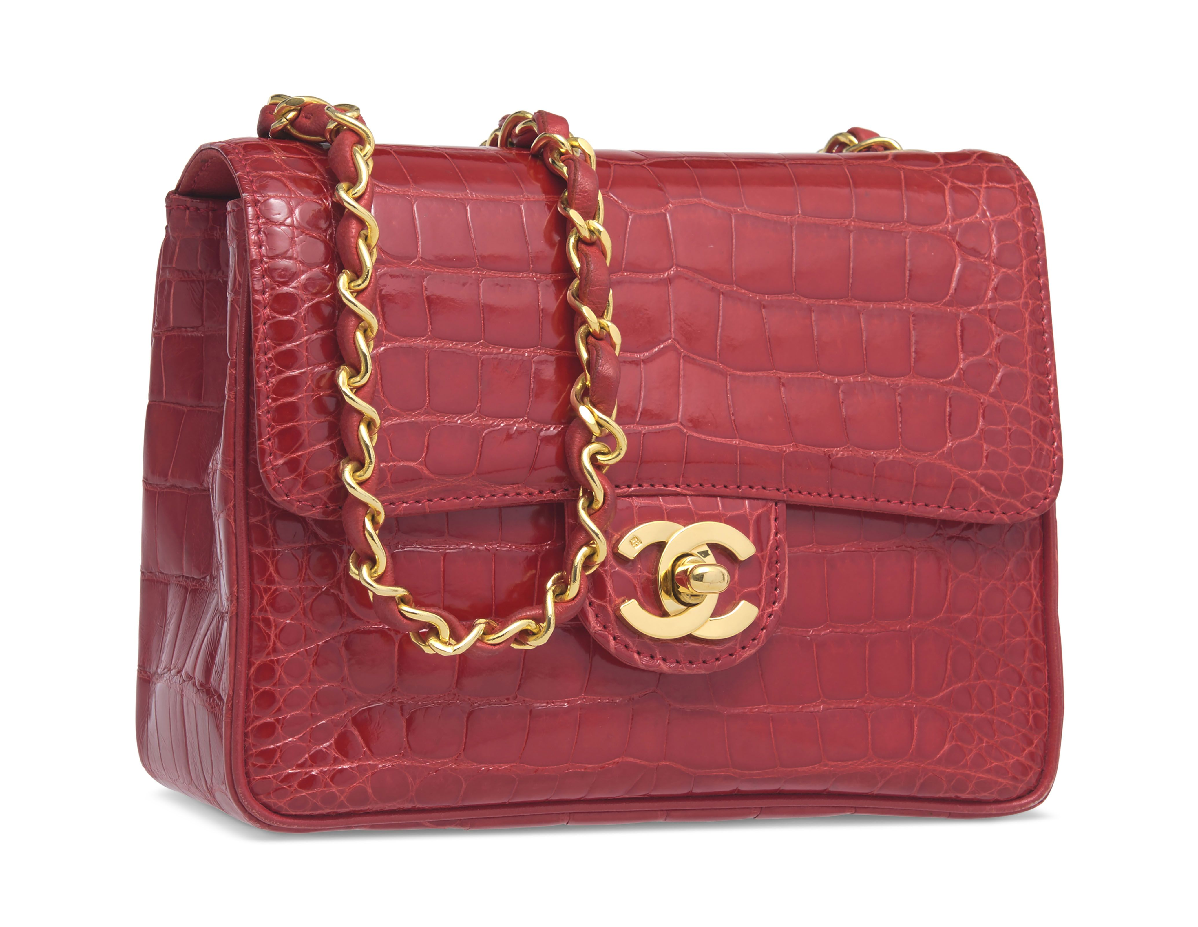 A Shiny Red Alligator Mini Flap Bag With Gold Hardware Chanel Burberry Handbags Flap Bag