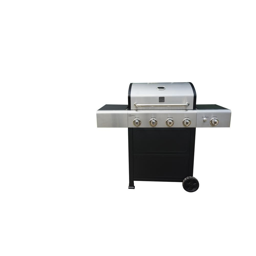 kenmore liquid propane gas grill. kenmore 5-burner propane gas grill in black/stainless steel (black/silver kenmore liquid
