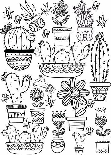Cactus and Succulent Printable Adult Coloring Pages #adultcoloringpages