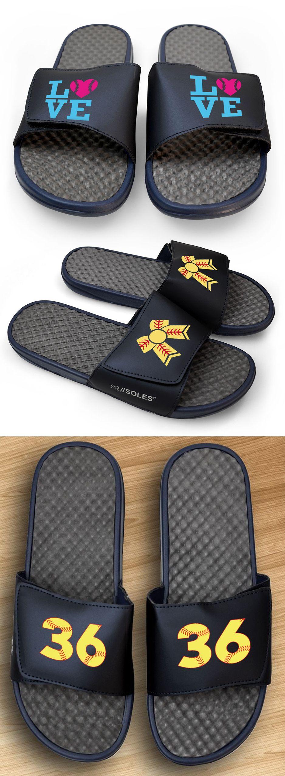 Navy slide sandals for your softball