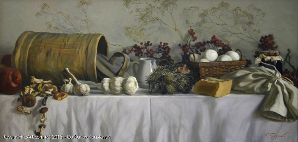 "http://www.russianfineart.com/catalog/prod?productid=25351 ""Still Life With Hedgehog"" - oil, canvas Russian Painter: Gorbunov Konstantin"