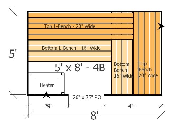 5x8 sauna layout with 4 benches most benches possible with this home sauna plan sauna design. Black Bedroom Furniture Sets. Home Design Ideas