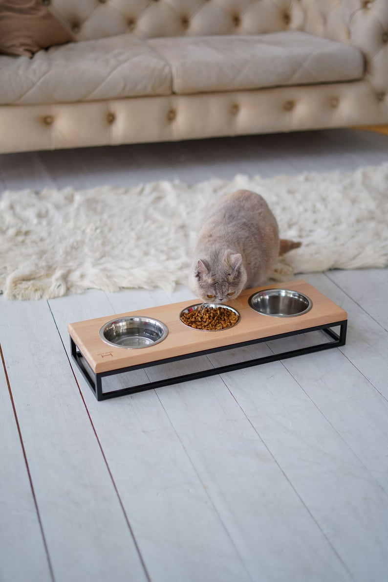 Cat Three Bowls Black Metal Stand Wooden Top Triple Cat Etsy In 2020 Cat Bowl Stand Cat Bowls Cat Food Station
