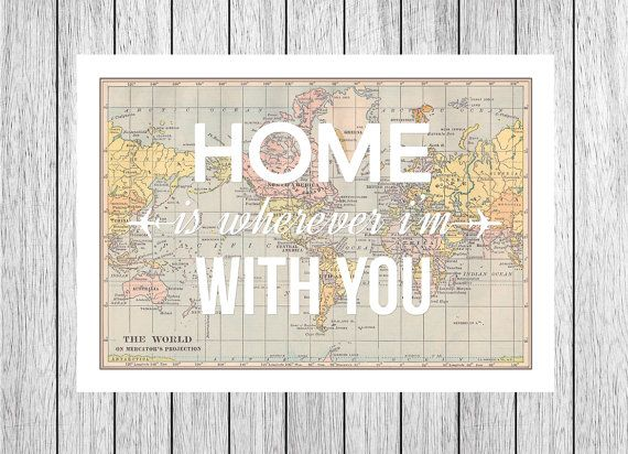 Home is wherever im with you map print world map for the home world map poster valentines map art home is by oflifeandlemons gumiabroncs Gallery