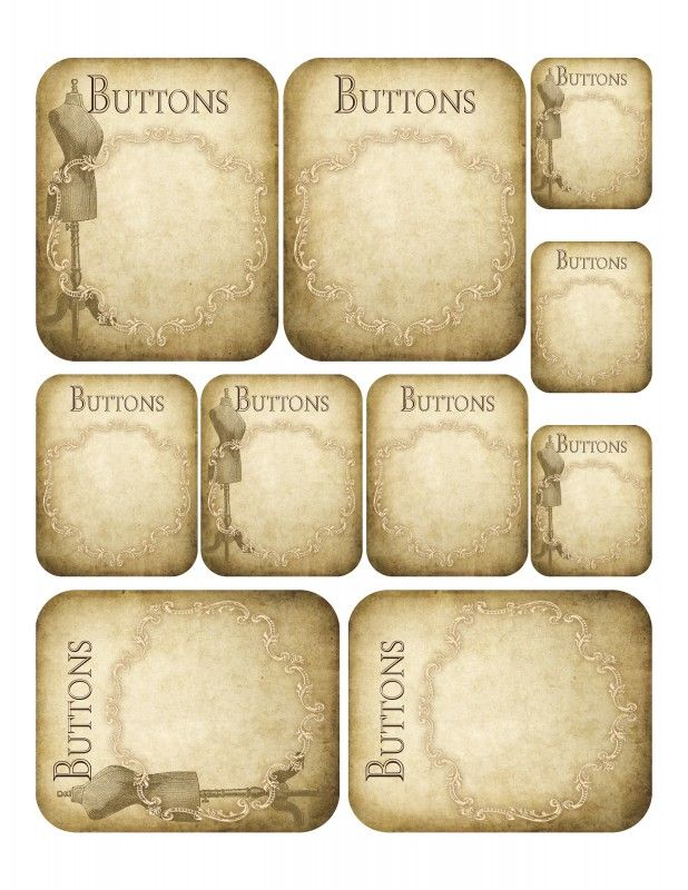 Vintage Button Card Printables Great For Journaling Vintage Printables Scrapbook Printables Button Cards