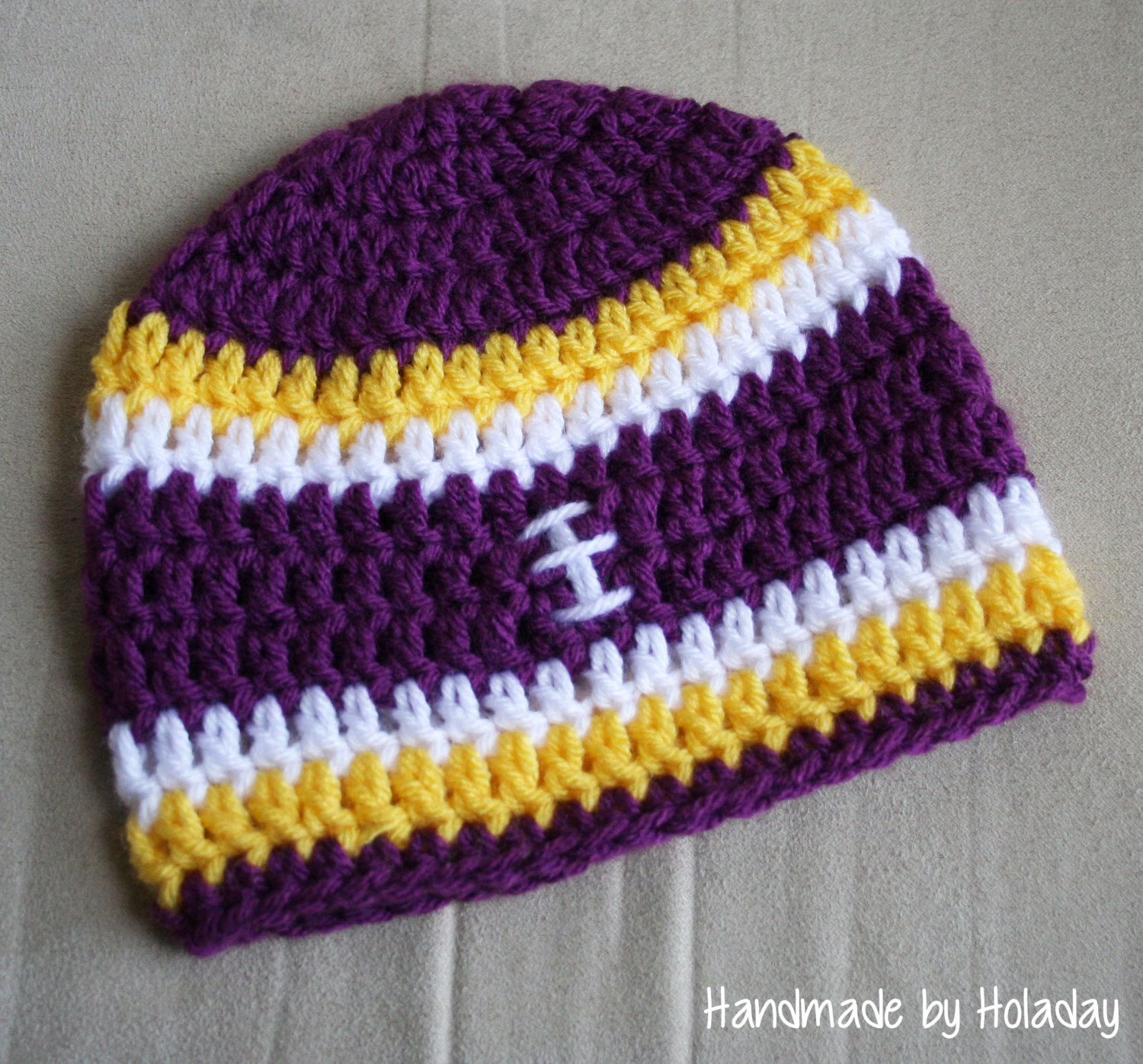 52a7aca9cac8de Items similar to Crochet Football Hat, Football Beanie, Baby Football Hat, Minnesota  Vikings Hat, LSU hat on Etsy