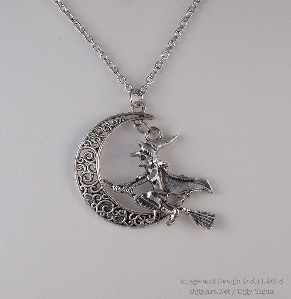 Halloween witch and crescent moon necklace by ugly shyla by halloween witch and crescent moon necklace by ugly shyla by uglyartdotnet on etsy aloadofball Image collections