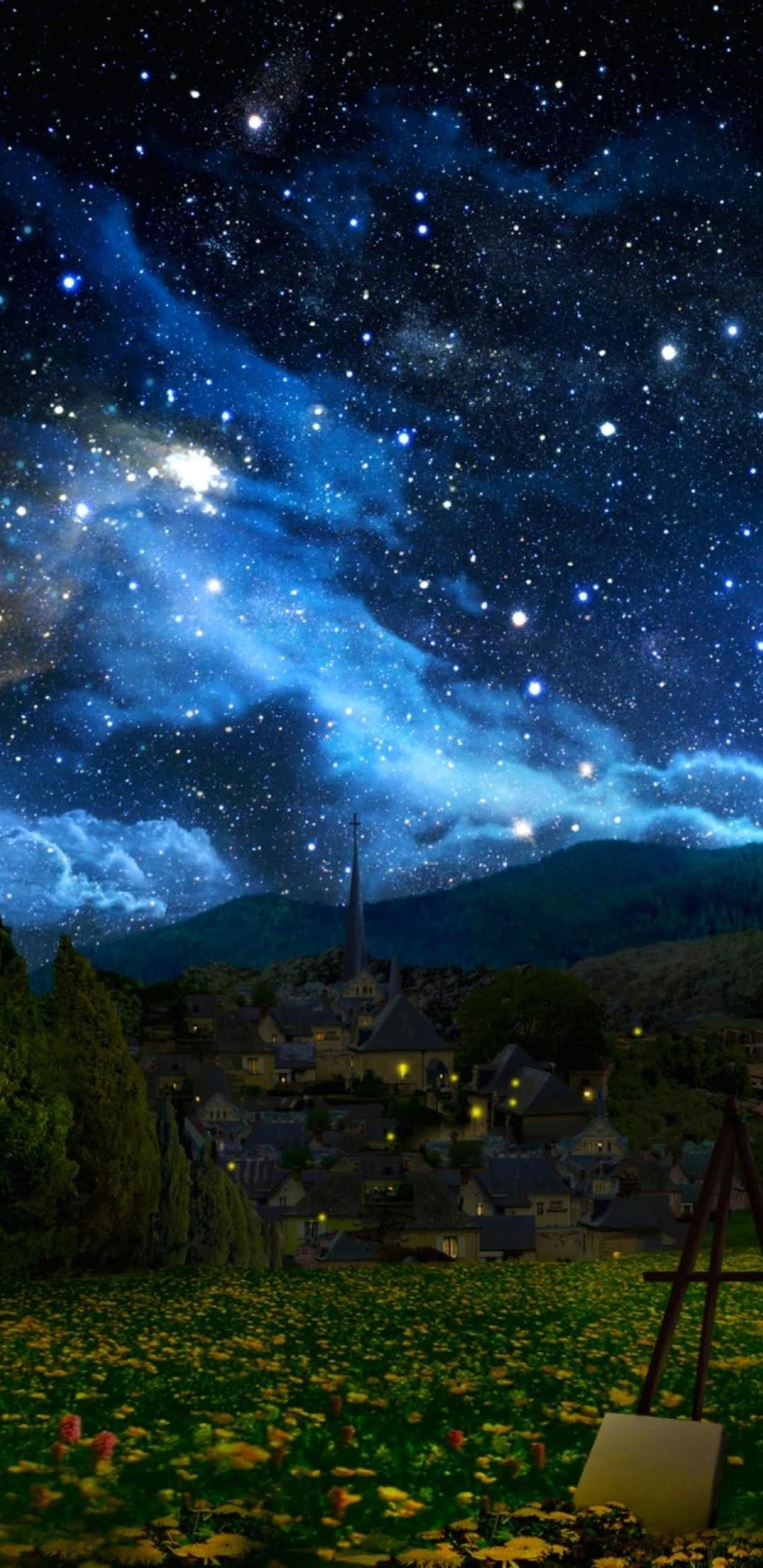 Pin by Aya on at in 2020 | Starry night art, Starry night ...