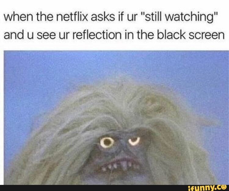 """When the netflix asks if ur """"still watching"""" and u see ur"""
