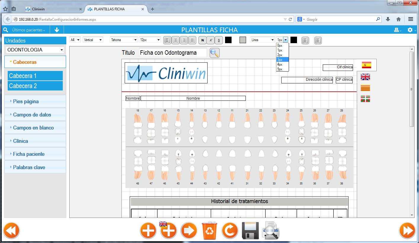 Nueva pantalla de # Cliniwin . Ahora podrás crear y modificar ...