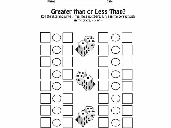 Maths Greater Than Less Than Worksheets greater or less math – Then Than Worksheet