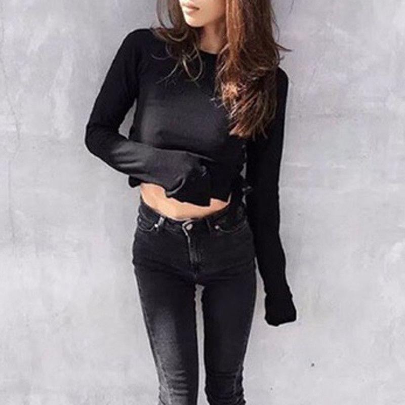 HDY Haoduoyi Autumn Fashion Women Solid Black Slim Sexy Lacing Side Crop Shirt Crew Neck Long Sleeve Short Sweatshirt