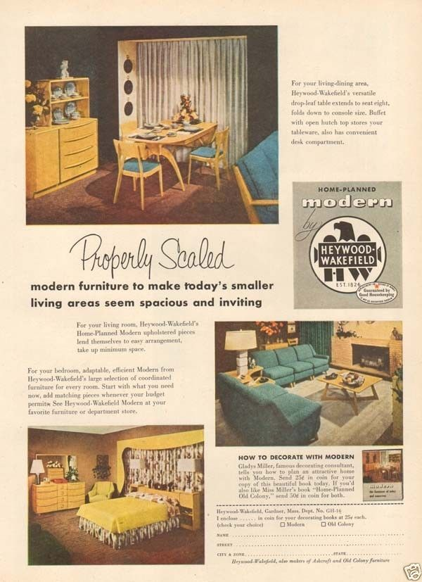 Modern Furniture Ads 1950s vintage heywood wakefield modern scaled furniture dining