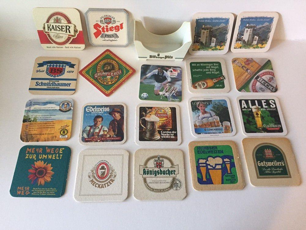 26 Vintage Foreign Beer Bar Drink Coasters Set Holder Barware Cardboard Cork Man Cave Memorabilia Beer Alcohol Cocktail Double Sided Round Beer Bar Bar Drinks Drink Coasters