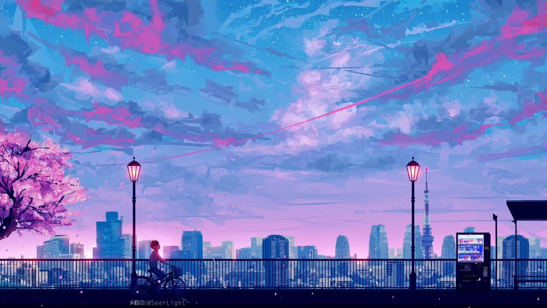 1920 X 1080 Anime City Landscape Cityscape Wallpaper Desktop Wallpaper Art Scenery Wallpaper