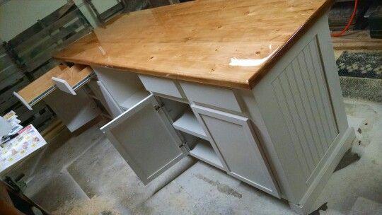 White Kitchen Island With Epoxy 2x6 Countertop White Kitchen