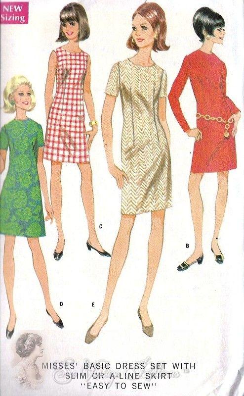 1960s Mod A Line or Slim Skirt Shift Dress Vintage Sewing Pattern ...