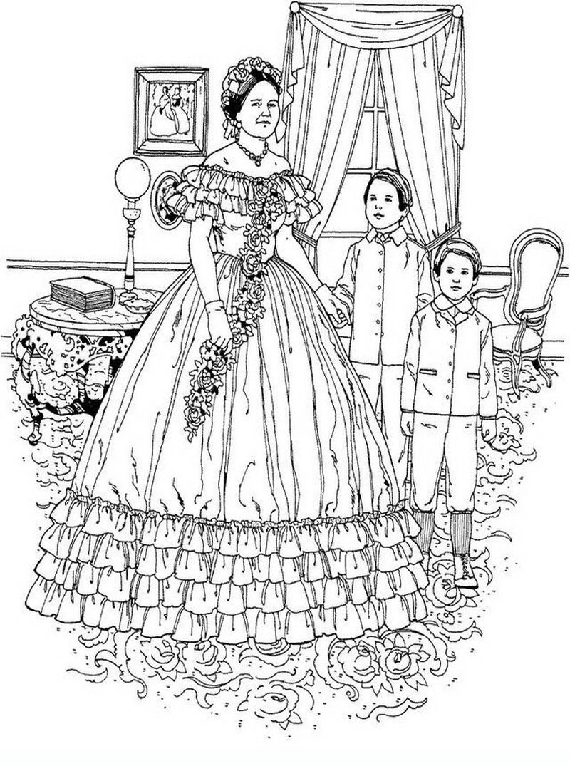 realistic coloring pages of Victorian woman for adults ...