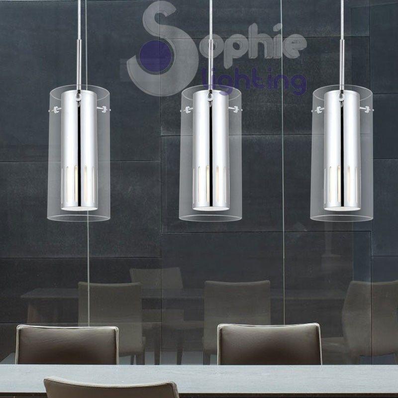 Lampada sospensione soffitto led 3 sfere pendenti cristallo vetro soffiato design tavolo - Lampada a sospensione per tavolo pranzo ...