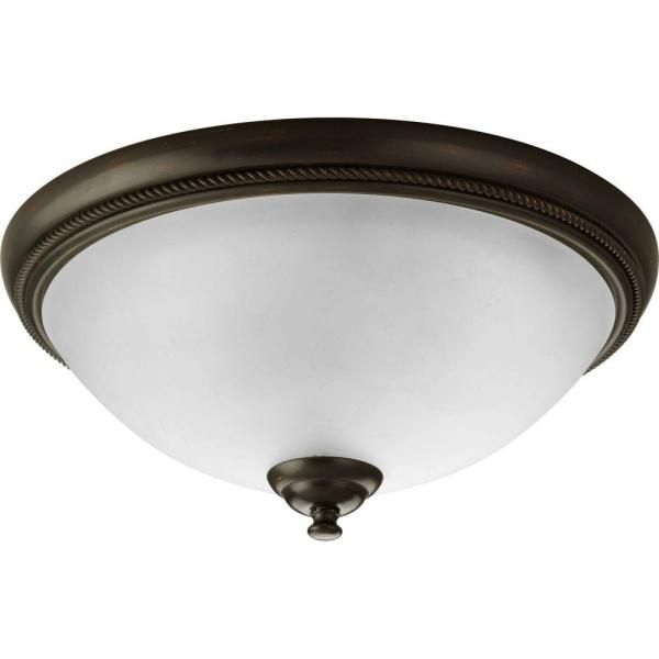 Progress Lighting Pavilion Collection 15 In 2 Light Antique Bronze Flush Mount With Etched Watermark Glass Bowl P3479 20 The Home Depot Progress Lighting Flush Ceiling Lights Flush Mount Lighting