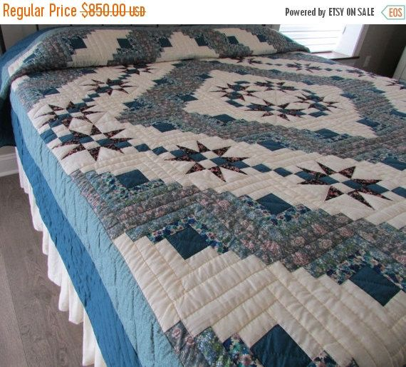 ON SALE Cabin and Stars Quilt, Hand Made Quilt, King Size Quilt ... : king size quilts sale - Adamdwight.com