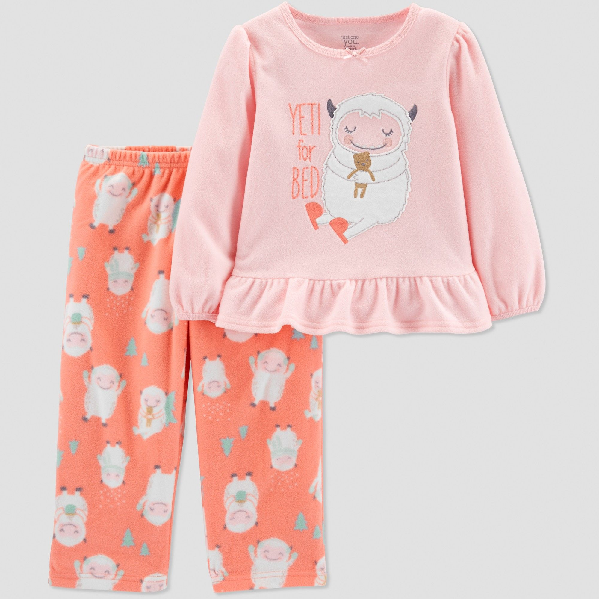 6b6d32fa2 Toddler Girls' Yeti 2pc Pajama Set - Just One You made by carter's Coral  4T, Pink