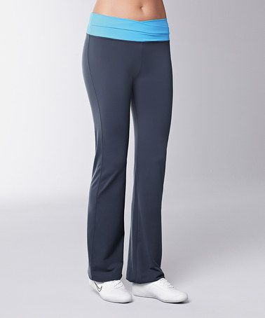 Turquoise & Gray Drawstring Pants by Mia by Amoena #zulily #zulilyfinds