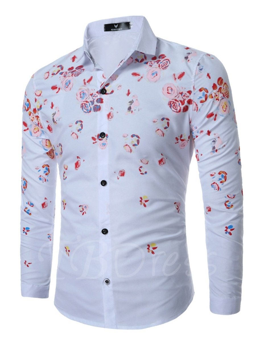 Print Floral Shirt Men Long Seleeve Casual Mens Dress Shirts