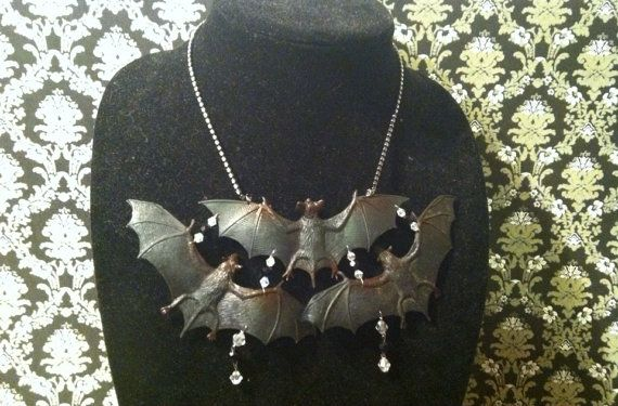 Bat Trio Necklace by BugsNBronze on Etsy