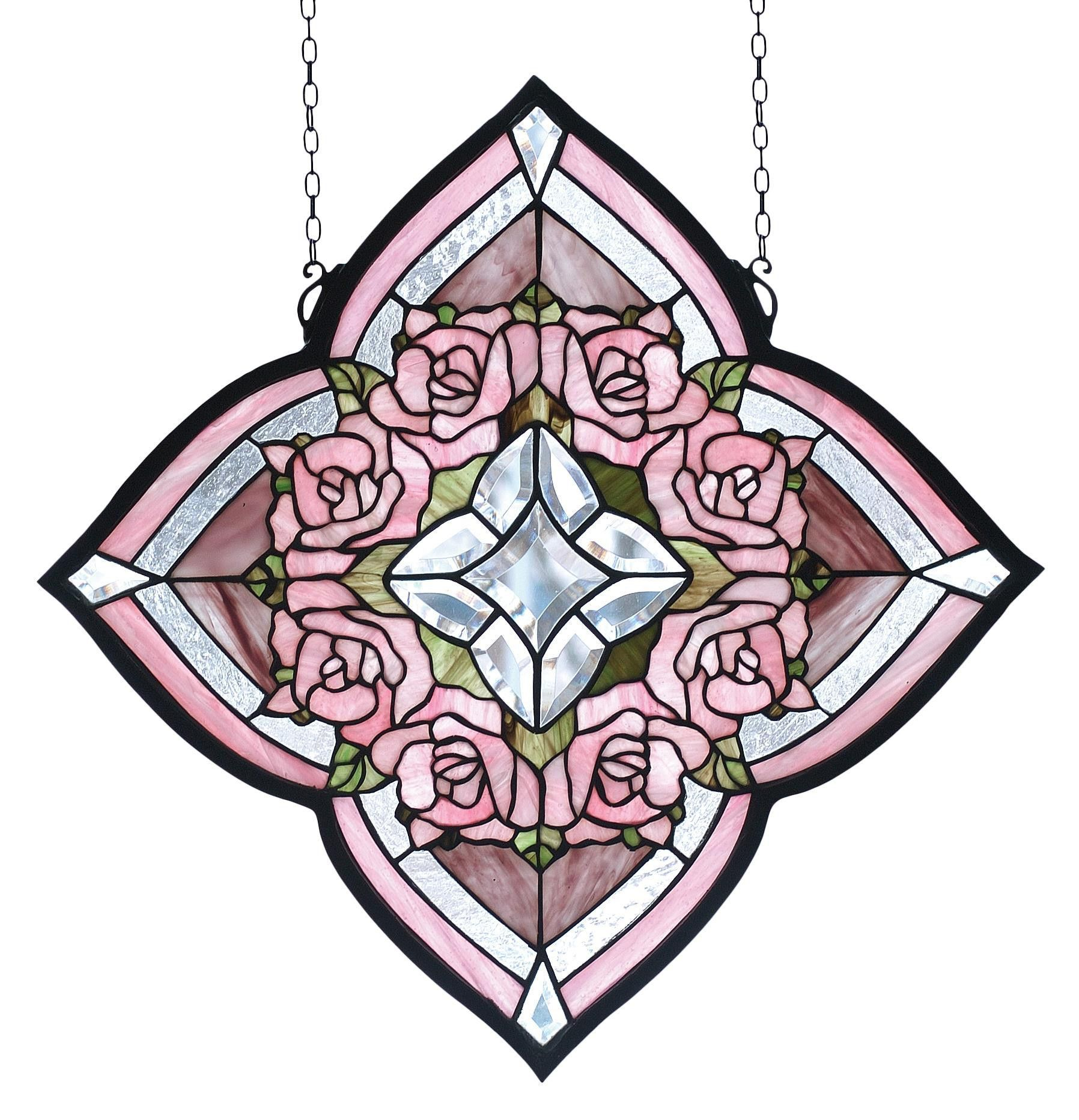 20 Inch W X 20 Inch H Ring Of Roses Stained Glass Window