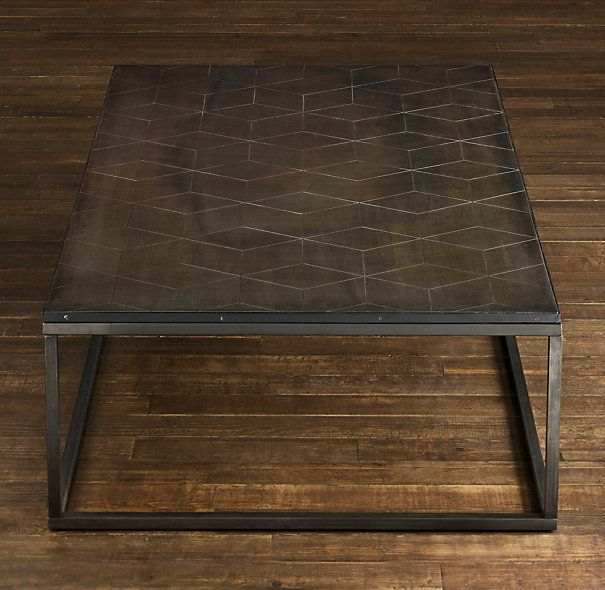Metal Parquet Coffee Table Copper Ties Kitchen To Family Room