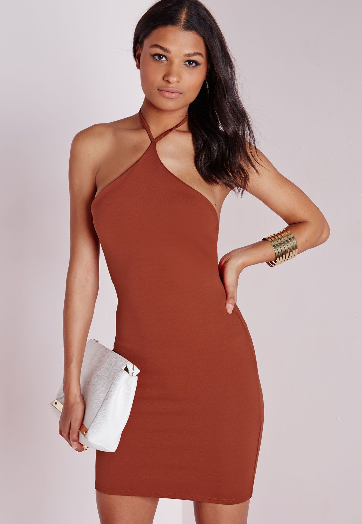 Missguided Halterneck Bodycon Dress Rust The Material Things
