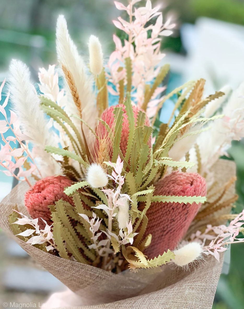 Coloured Dried Banksia Dried Flower Bouquet Dried Flowers Pink Pampas Grass