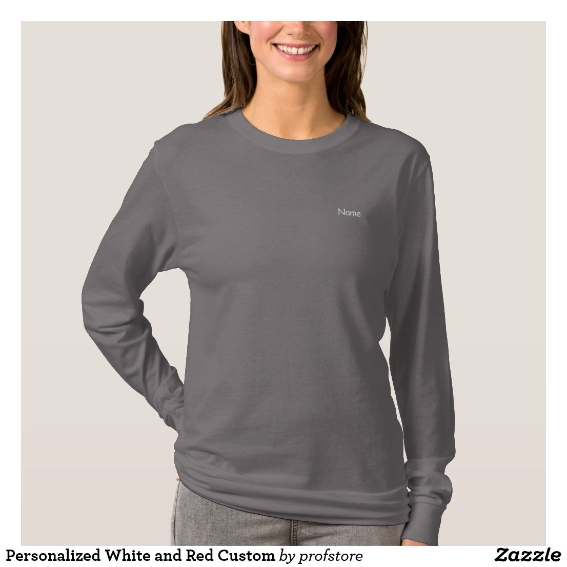 Smoke Grey Personalized Custom Women's Embroidered Long Sleeve T-Shirt - Create Your Own Embroidery Text Design