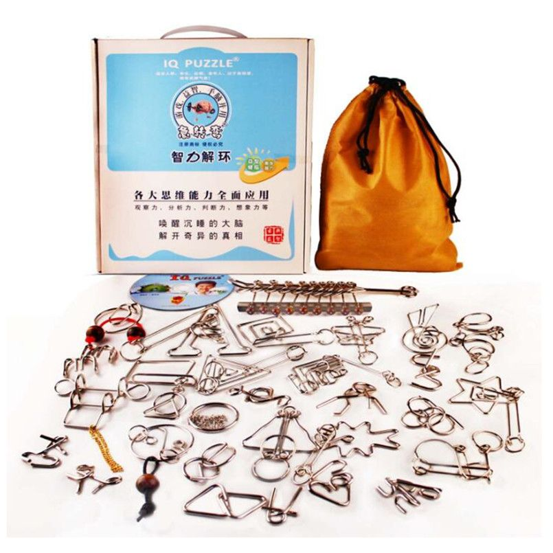 30pcs Metal Crafts Chinese Ring Puzzle IQ Brain Teaser Kids Educational Toy