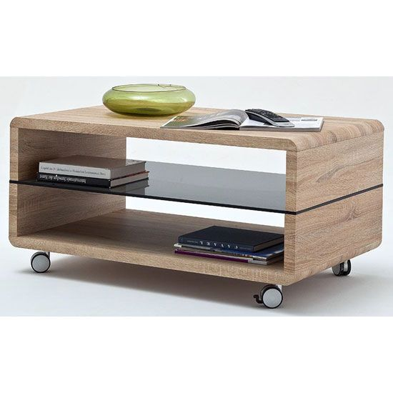 Franca Coffee Table In Oak With Grey Glass Shelf And Wheels Coffee Table Coffee Table With Wheels Contemporary Coffee Table