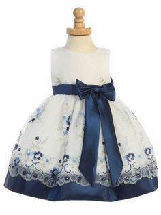 Adorable Baby Clothing - Navy & White Embroidered Organza & Satin Flower…