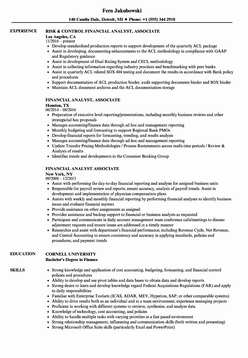 Entry Level Financial Analyst Resume Awesome Financial