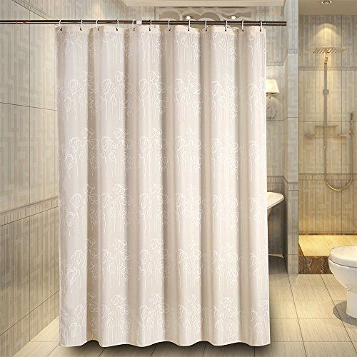 Fabric Shower Curtain Liner Sets Bathroom BathShower Curtains XWide Extra Wide Bath 108 X 72 Inches For Bathtub Beige White Flowers