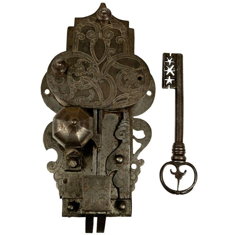 Large, 16th Century Etched Lock and Key - Large, 16th Century Etched Lock And Key 16th Century, Key And