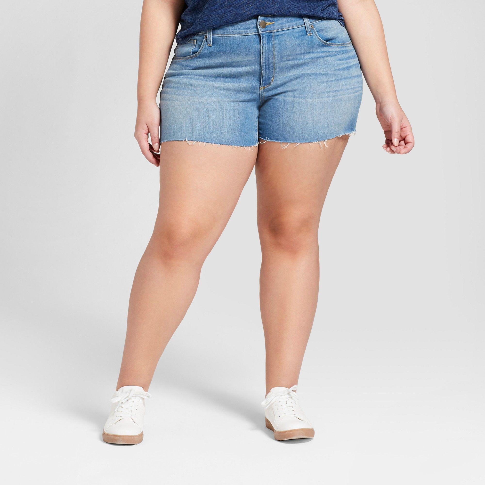 8a11f88853 Women s Plus Size Midi Jean Shorts - Universal Thread Light Wash 16W ...