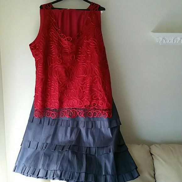 Red 100% silk  hand crochet front top & Charcoal Grey Taffeta skirt will Bundle 4 a night out top by soulmates skirt Km collections Skirts Skirt Sets