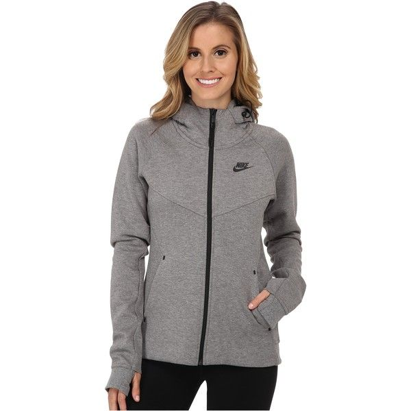 Womens Nike Tech Fleece Full Zip Carbon Heather/Black Hoodie