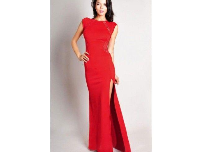 Rochii de seara ieftine: Rochie cu despicatura laterala rosu ...