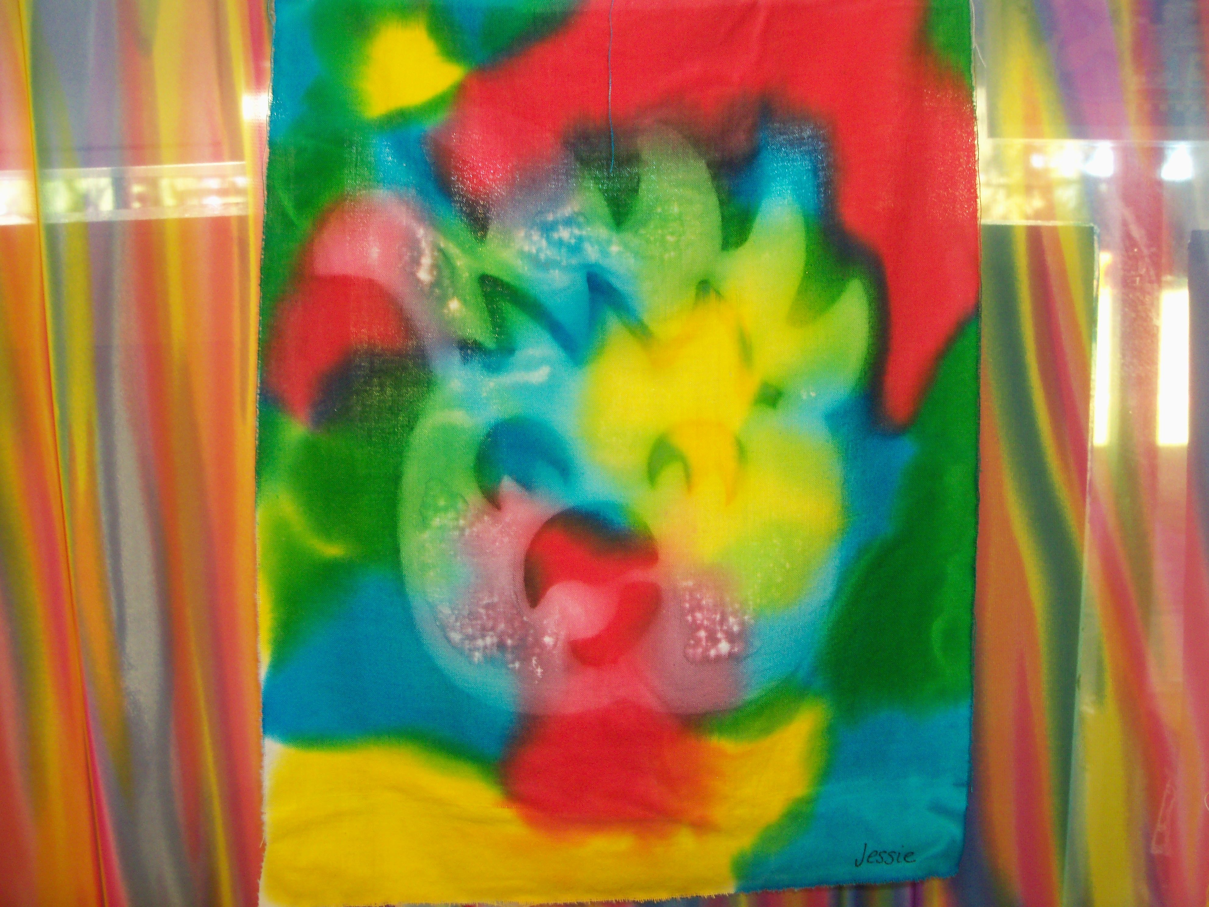 sun painting. Edicol dye the fabric then place a stencil on top ...
