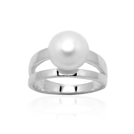 Zales 7.0mm Cultured Freshwater Pearl and Diamond Corkscrew Ring in Sterling Silver zdh1Xp8c8f